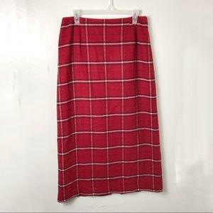 Vintage Nine & Company Red Plaid Long Skirt 10